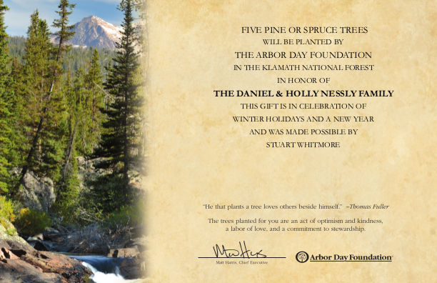 [Tree Planting Certificate for Holly and Dan]