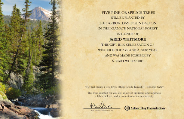 [Tree Planting Certificate for Jared]